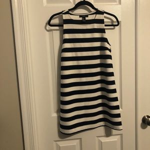 White and Navy Blue Striped Tank Top Shift Dress